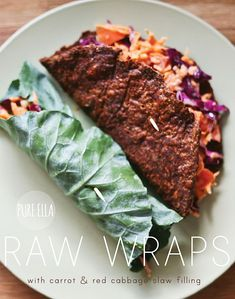 raw wraps with carrot slaw filling