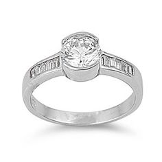 Liese's 2CT Half Bezel Set Brilliant Cubic Zirconia Engagement Ring