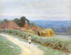"""The Kentish Farmhouse at Crockham Hill""  by Helen Allingham (1848-1926) ...."