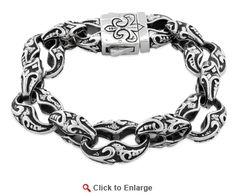 Stainless Steel Fleur-de-Lis Link Bracelet * $59.99