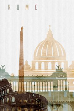 Retro Wallpaper Discover Rome poster Wall art Rome skyline Rome watercolour print city poster typography art travel poster home decor ArtPrintsVicky Graphisches Design, Travel Wall Art, Skyline Art, Paris Skyline, City Illustration, Retro Wallpaper, City Art, Vintage Travel Posters, Typography Poster