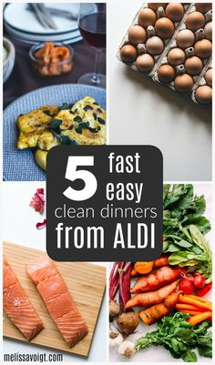 Healthy clean dinner recipe ideas that your family will love! Our super simple one-week meal plan is great for Aldi shopping and Aldi meal planning! Healthy Clean Dinner, Clean Dinner Recipes, Clean Dinners, Healthy Dinners, Aldi Recipes, Cookbook Recipes, Good Healthy Recipes, Whole Food Recipes
