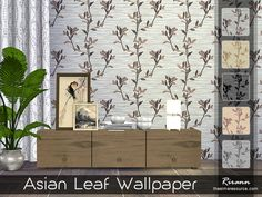 The Sims Resource: Asian Leaf Wallpaper by Rirann • Sims 4 Downloads