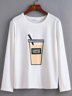 White Coffee Cup Print T-shirt