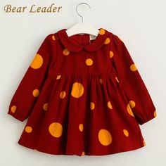 Winter Baby Girls Princesss Dresses Long-sleeve Doll Brought Dot Design for Kids Party Dress $27.98 => Save up to 60% and Free Shipping => Order Now! #fashion #woman #shop #diy www.bbaby.net/...