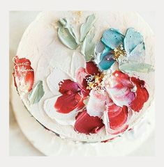Textured Buttercream Painting Wedding Cakes ~ no need for a cake topper with this bold palette knife painting of flowers