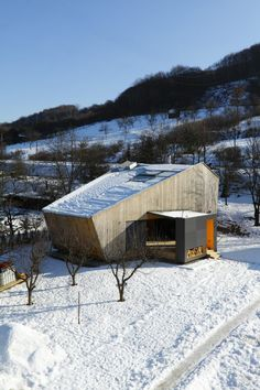 Weekend House or indeed Secret Headquarters, snowy cardboard box-like headquarters