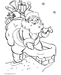 Santa delivers the toys - Christmas coloring pages!