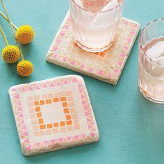 Washi tape mosaic tile coasters DIY