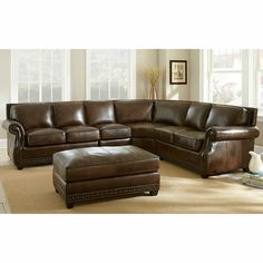 Sanremo Top Grain Leather Sectional Sofa And Ottoman Set By Greyson Living  | Overstock.com Shopping   The Best Deals On Sectional Sofas | For The Home  ...