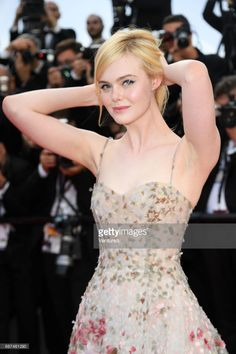Elle Fanning attends the Anniversary screening during the annual Cannes Film Festival at Palais des Festivals on May 2017 in Cannes, France. Crazy Dresses, Sexy Dresses, Dakota And Elle Fanning, Actrices Sexy, Sheer Gown, Gamine Style, Palais Des Festivals, Famous Girls, Beauty Full Girl