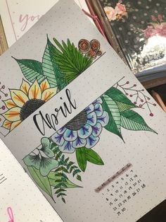 My wife has been getting into her bullet journal-ling. : bulletjo… My wife has been getting into her bullet journal-ling. April Bullet Journal, Bullet Journal Cover Ideas, Bullet Journal Notebook, Bullet Journal School, Bullet Journal Themes, Journal Covers, Bullet Journal Inspiration, Journal Ideas, Kalender Design