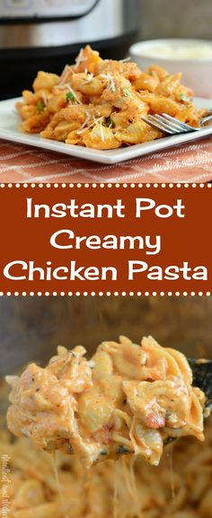 Instant Pot Creamy Chicken Pasta is an easy pressure cooker dinner recipe made with chicken and pasta shells in a cheesy tomato cream sauce. This one pot Italian-style chicken dinner takes about 30 minutes to make, so it's perfect for busy days, and it's kid friendly!