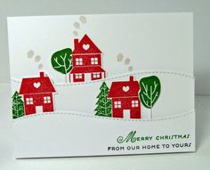 ME Landscape Trio dies, Holiday Home stamp set,  trees from City Scene, PTI, Cards-by-the-Sea