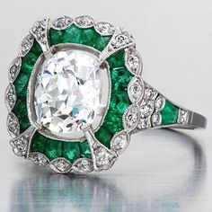 Art Deco Ring Diamond and Emerald Ring