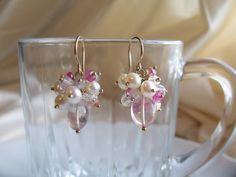 Rose quartz earrings pink tourmaline pearl cluster 14k gold filled gemstone handmade MLMR item 614