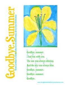 Goodbye, Summer Song Sheet with Guitar Chords by ELEG for SBWE Words and Music by Art by Eloise Gleichenhaus To view or print this sheet, c...