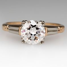 Retro 1940s Transitional Cut Diamond Vintage Engagement Ring