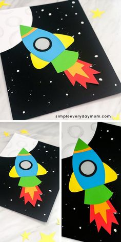 Simple & Fun Rocket Craft For Kids - Kindergarten Crafts & Activities - Make this easy DIY rocket paper craft made with construction paper or card stock. Paper Craft Making, Paper Crafts For Kids, Fun Crafts, Craft With Paper, Diy Paper, Simple Paper Crafts, Paper Crafting, Simple Kids Crafts, Decor Crafts