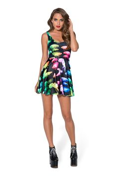 Jellyfish Rainbow Scoop Skater Dress (48HR) by Black Milk Clothing $85AUD