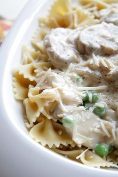 Parmesan, Onions and Mushroom Pasta with Peas and Truffle Oil