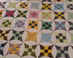"""Bailey Nine Patch Hand Quilted in 1980s. 85"""" x 67 1/2"""""""