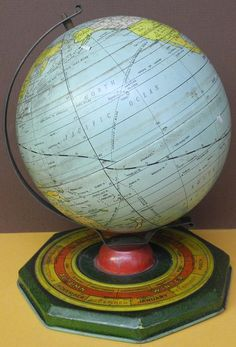 6 inch untitled world globe, Globe Maker: J. Chein & Co. (Published: J. Chein & Co. 1932 Burlington, NJ)