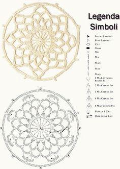 Cerchio a rete   . . . .   ღTrish W ~ http://www.pinterest.com/trishw/  . . . . #crochet #doily #dream_catcher #motif