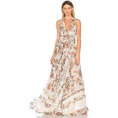 Haute Hippie Johnny Guitar Dress (35.140 RUB) ❤ liked on Polyvore featuring dresses, flounce dress, white dresses, flouncy dress, lacy dress and white flounce dress