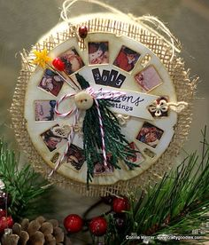 Christmas ornament by Connie Mercer using Darkroom Door Dear Santa Montage, Stitched Christmas Rubber Stamps and Tim Holtz Picture Wheel die.