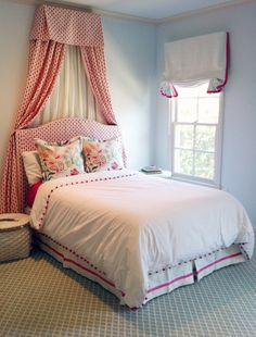 girl's room | Kyle Knight Design upholstered head board near window, easy drape thing