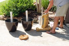 Add concrete to the base of the umbrella stand