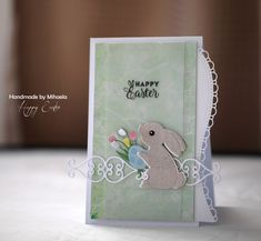 Another Easter card made it today. A simple, with these sweet bunny and tulips from Marianne Design. I used 3 layers of b. On October 3rd, The 5th Of November, Easter Gift Baskets, Happy Birthday Gifts, Inspirations Magazine, Marianne Design, Post Wedding, Baby Cards, Happy Easter