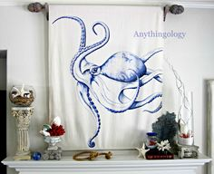 Octopus - blue colored pencil, blue Sharpie, and blue ball point pen on canvas drop cloth.