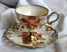 Cup and saucer. Collectible.  Hand painted. by AnythingDiscovered, $42.00