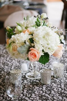 Rose and Hydrangea Reception Flowers | photography by http://portfolio.shiprapanosian.com/ |  floral, event design/styling by http://www.riversideflowersandevents.com/