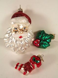 Christopher Radko Celebrations Ornaments Santa Head Stocking Holly Set of 3  #ChristopherRadko #Santaornaments