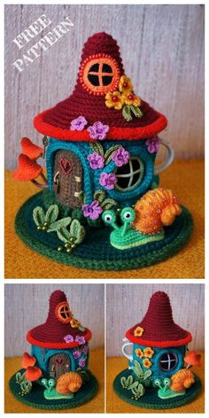 Crochet Fairy House Teapot Cozy Free Crochet Patterns – Most Comfortable Things Crochet Mug Cozy, Crochet Home, Cute Crochet, Crochet Crafts, Crochet Projects, Crochet Amigurumi Free Patterns, Crochet Flower Patterns, Crochet Dolls, Knitting Patterns