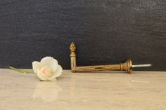 One Vintage French Curtain Tieback ~ Gilt Curtain Hook ~ Ornate Gold Metal Tie Back ~ French Chateau
