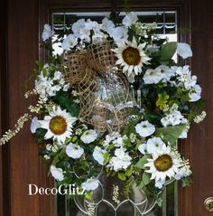 Grapevine Wreath with BURLAP Bow and WHITE FLOWERS by decoglitz