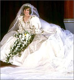 1980′s: Wedding fashion remained soft and flowing at the start of the decade, but the late 70′s saw an infusion of Victorian revival with softly romantic gowns in diaphanous chiffon & sheer fabrics, embellished with embroidered organza & 3D venetian laces