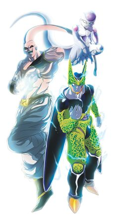 Villains - Frieza, Cell and Majin Buu. Perfect Cell's my favourite. Frieza looks like he's scheming something, Cell looks like he wants a challanges and Buu's ready to spectate the whole fight.