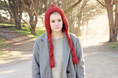 Red orange knit pixie hat hooded scarf in vegan by KnitsForLife, $40.00