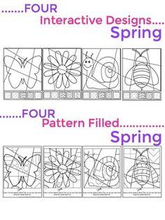 Pop Art Interactive Coloring Sheets for Spring - Fun & Eng