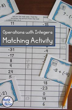 A new way to practice operations with integers!  Students draw the pictures from the task cards onto the recording sheets!  Get kids out of their seats with this fun activity!