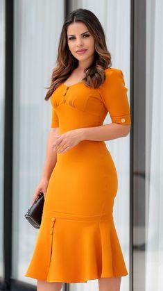 Solid Button Design Pep Hem Bodycon Dress Size S Color Orange Modest Dresses, Elegant Dresses, Day Dresses, Dress Outfits, Casual Dresses, Short Dresses, Formal Dresses, Church Dresses, Church Clothes