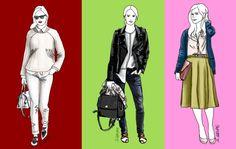 Diese drei Outfits mit Basics im Easy Chic nutzen unterschiedliche Methoden, um den Look interessant zu gestalten.