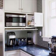 Home Decorating Style 2020 for 12 Ingenious Ways You Can Do With Kitchen Appliance Cabinet Design Kitchen Cupboard Organization, Kitchen Appliance Storage, Cupboard Design, Cupboard Storage, Kitchen Cupboards, Kitchen Appliances, Cupboard Ideas, Appliance Cabinet, Appliance Garage