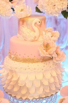 Pink-Swan-Themed-Birthday-Party-Tiered-Cake