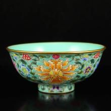 Chinese Qing Dynasty Gilt Edge Blue Ground Famille Rose Porcelain Bowl w Qian Long Mark